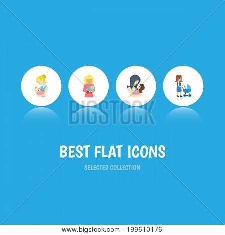Flat Icon Mother Set Of Parent, Kid, Perambulator And Other Vector Objects