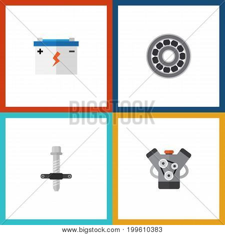 Flat Icon Service Set Of Muffler, Brake Disk, Accumulator And Other Vector Objects