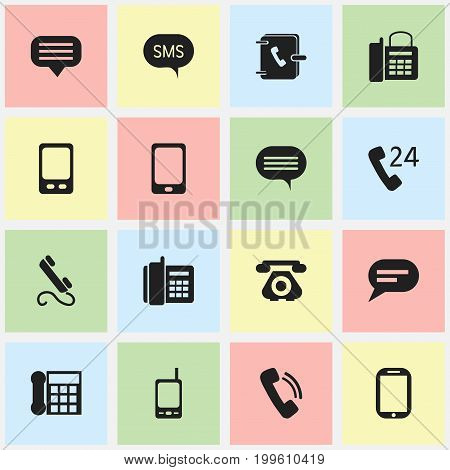 Set Of 16 Editable Phone Icons. Includes Symbols Such As Chat, Comment, 24 Hour Servicing And More