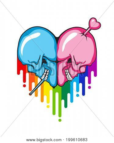 Human Skull heart shape with rainbow paint flow.
