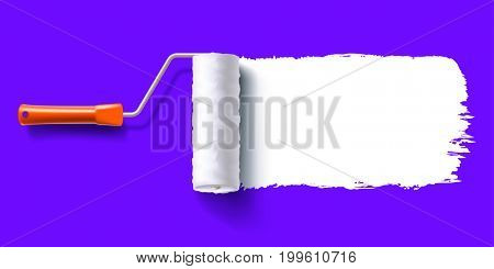 white color trail of the roller brush on colorful background for headers, banners and advertising. 3D illustration