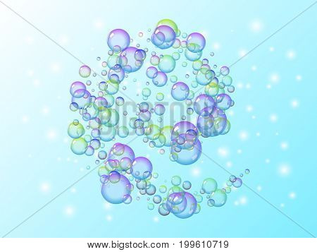 Spiral motion of many soap bubbles with rainbow colors.