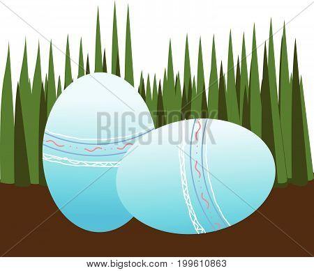 Beautiful Easter eggs on ground vector illustration