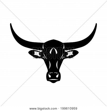 Logo head of a bull. Icon buffalo. Silhouette of an american bull isolated on white background