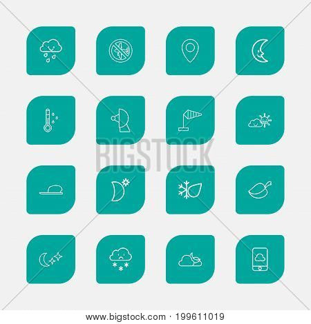 Set Of 16 Editable Air Outline Icons. Includes Symbols Such As Phone, Pinpoint, Hail And More