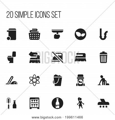 Set Of 20 Editable Cleaning Icons. Includes Symbols Such As Trash Bin, Power, Dustbin And More