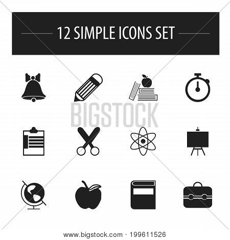 Set Of 12 Editable Knowledge Icons. Includes Symbols Such As Earth Planet, Cutting, Timer And More