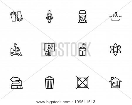 Set Of 12 Editable Hygiene Outline Icons. Includes Symbols Such As Flooring, Scrub, Washbasin And More