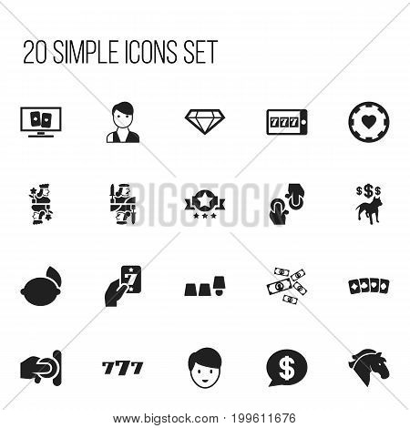 Set Of 20 Editable Business Icons. Includes Symbols Such As Phone Game, Lime, Stallion And More