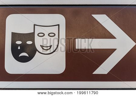 Traditional crying and laughing face as theatre or broadway sign in Italy.
