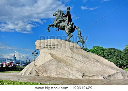 Saint Petersburg, Russia - July 10, 2017: Monument to Peter the first. View the Bronze Horseman monument in the Senate Square. One of the symbols of Saint Petersburg