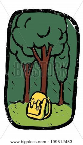 Illustration of lonely backpack leans against tree in the forest. Green and yellow colours.