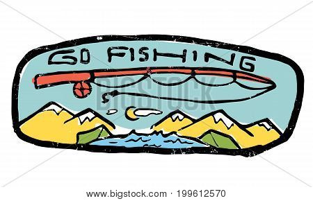 Go fishing label. Nature and resting. Fishing rod, go fishing text, landscape background with mountains and tents