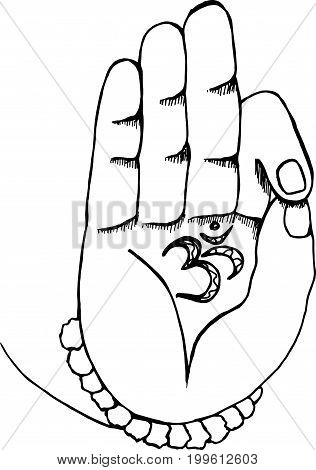 The arm of the shiva with ohm. Black and white illustration of hands and rudraksh