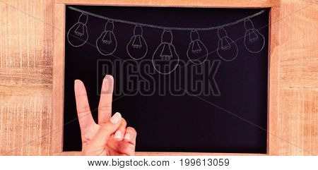 Illustration image of light bulbs arranged against hand making peace sign