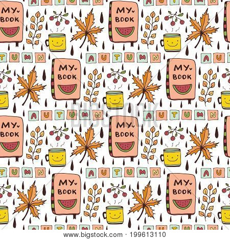 Autumn seamless pattern with funny doodles. Cute kids background for stationery design