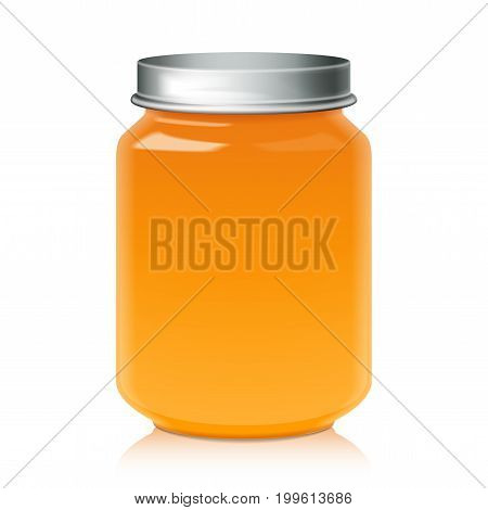 Glass Jar For Honey, Jam, Jelly or Baby Food Puree Mock Up Template for your design