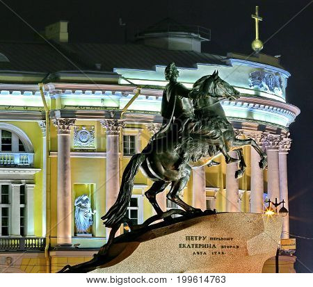 Saint Petersburg, Russia - July 10, 2017: Monument to Peter the first. Night view the Bronze Horseman monument in the Senate Square. One of the symbols of Saint Petersburg