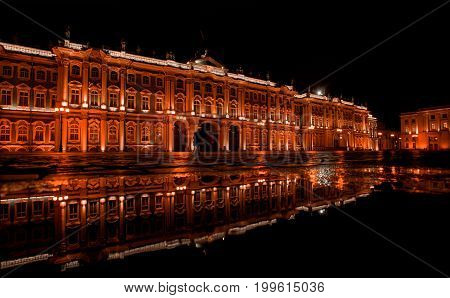 Saint Petersburg, Russia - July 10, 2017: Palace Square, Winter Palace, the Hermitage Museum in St. Petersburg at night. One of the symbols of Saint Petersburg