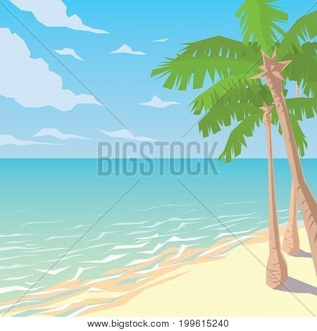 Sandy beach with palms. Tropical ocean landscape. Seaside. Summer sky, clouds, waves. Vector illustration of seascape and coast in flat faceted style for design, articles, print. Scene for artwork.