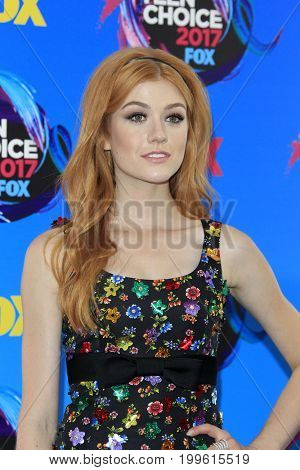 LOS ANGELES - AUG 13:  Katherine McNamara at the Teen Choice Awards 2017 at the Galen Center on August 13, 2017 in Los Angeles, CA
