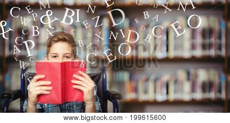 Letters on a white background against portrait of disabled schoolboy holding book in library