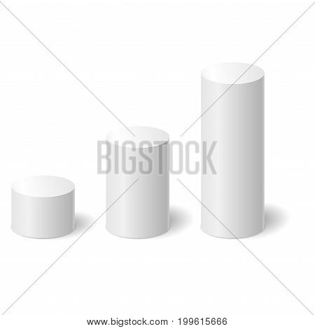 White 3D cylinders with a shadow. Vector illustration.