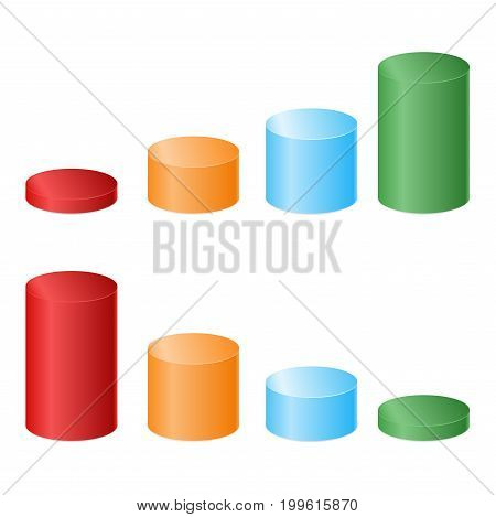 Color 3D cylinders of different heights. Vector illustration.