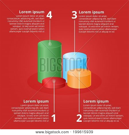 Color 3D cylinders of different heights. Colorful elements for infographics. Vector illustration.