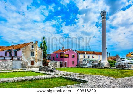 Scenic view at old ancient roman temple in Nin town, Croatia.