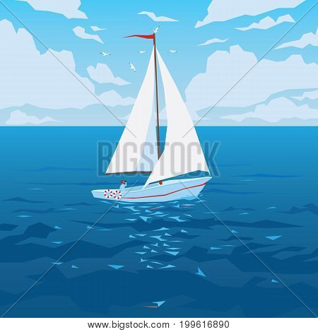 White boat with sail and red flag. Tropical ocean with calm waves and seagulls. Summer sky with clouds. Vector illustration of seascape with sailboat in flat faceted style for design travel, articles and printing.
