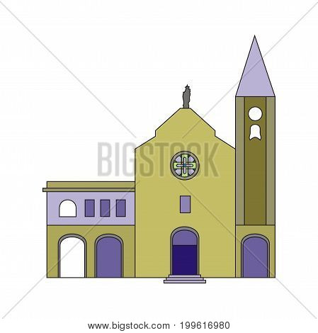 Illustration Baptist Church with stained glass window and  tower isolated on white background