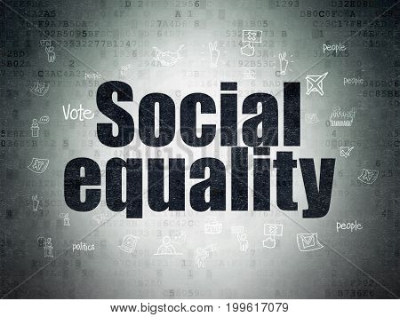 Politics concept: Painted black text Social Equality on Digital Data Paper background with  Hand Drawn Politics Icons