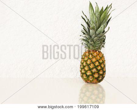 fresh pineapple on white background - exotic fruit