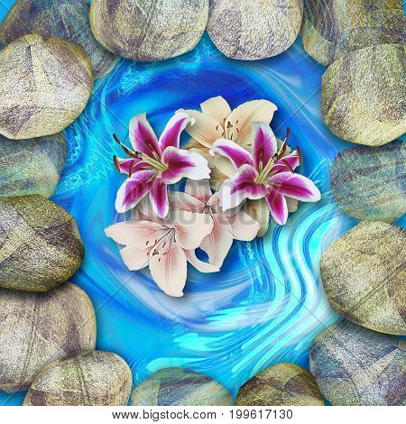Natural lagoon with round stones and bouquet of lilies. Blue pond with beige, gray, brown and white rounded pebbles and red pink and white lilies. 3d rendering