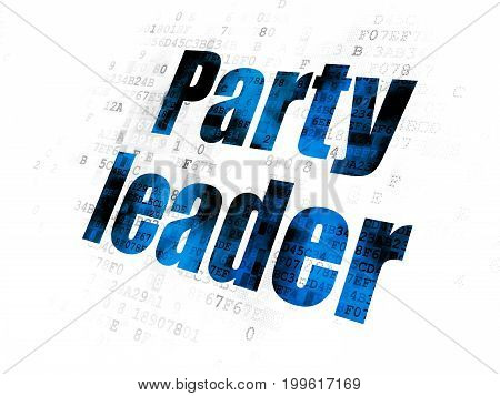 Politics concept: Pixelated blue text Party Leader on Digital background