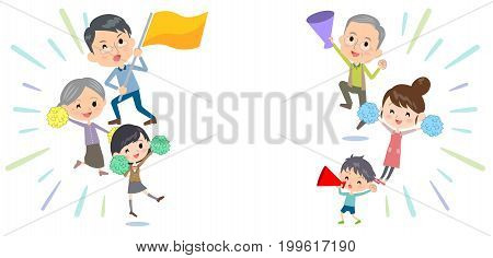 family three generations Support cheering  design template illustration