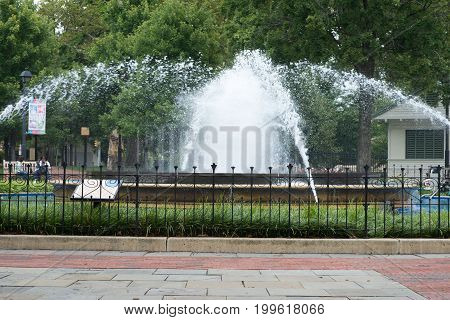 PHILADELPHIA, USA - AUGUST 12: View of Franklin Square in Center City Philadelphia on August 12, 2017