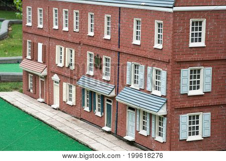 PHILADELPHIA, USA - AUGUST 12: View of Minature Golf course with Philadelphia themed structures in Franklin Square in Center City Philadelphia on August 12, 2017