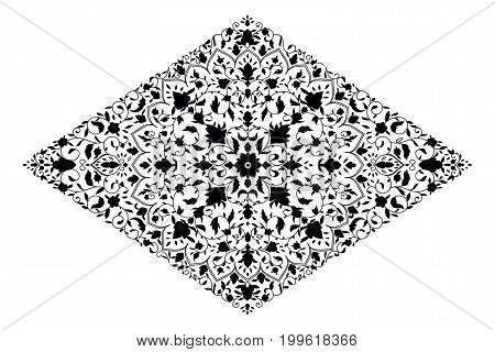 Islamic floral mandala decor in Victorian style. Traditional, Islam, arabic, indian, ottoman motifs, elements. Card for cafe, restaurant, shop, print  banner wedding invitation Save the date