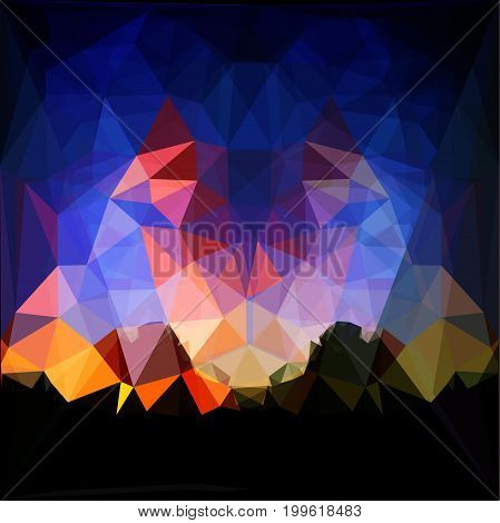 Abstract background of polygons resembling landscape with dramatic sky and mountains. Red, dark blue, orange and yellow background with silhouettes of mountains