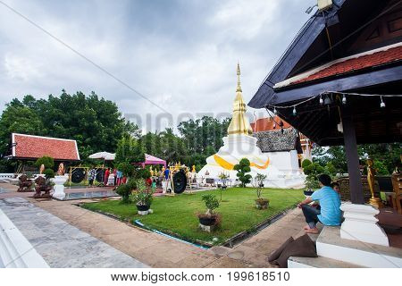 Khonkaen, THAILAND - June 6,2016 : Phrathat KhamKaen at Wat Chetiyaphumin, Khon Kaen people respect the people on June 6, 2016 in Khonkaen, THAILAND.