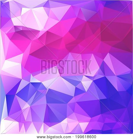 Abstract polygonal background resembling sky with dawn. Blue, purple, white and pink background of polygons