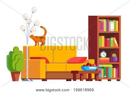 Modern minimalist design room interior with sofa, bookshelf and standard lamp. Living room furniture decoration. Cat sitting on couch back. Flat style vector illustration isolated on white background.