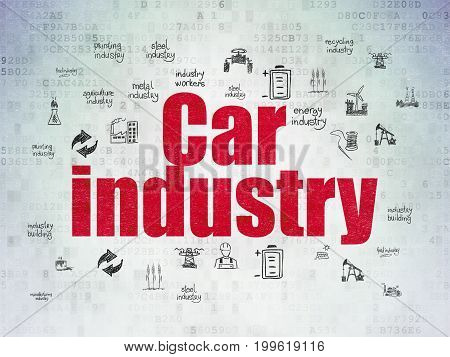 Manufacuring concept: Painted red text Car Industry on Digital Data Paper background with  Hand Drawn Industry Icons