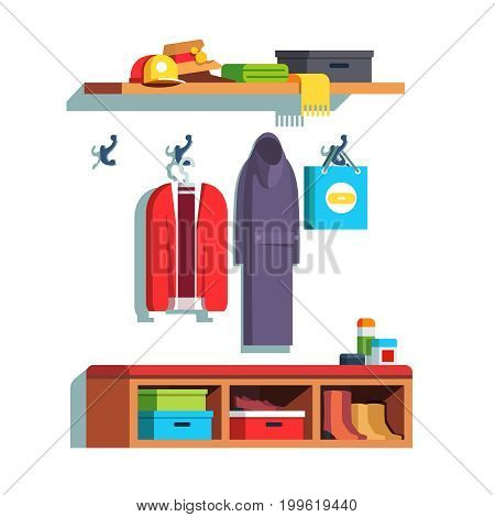 Modern minimalist design home hallway interior with wall hooks, hanger and shelves. Room furniture. Hall with clothes, outwear, shoes and boxes. Flat vector illustration isolated on white background.
