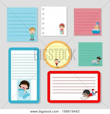 Collection of various note papers and daily routine of child, Little child daily activities, ready for your message. Vector illustration.