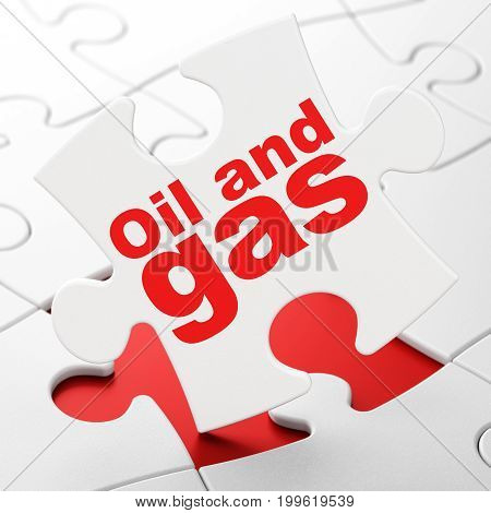 Manufacuring concept: Oil and Gas on White puzzle pieces background, 3D rendering