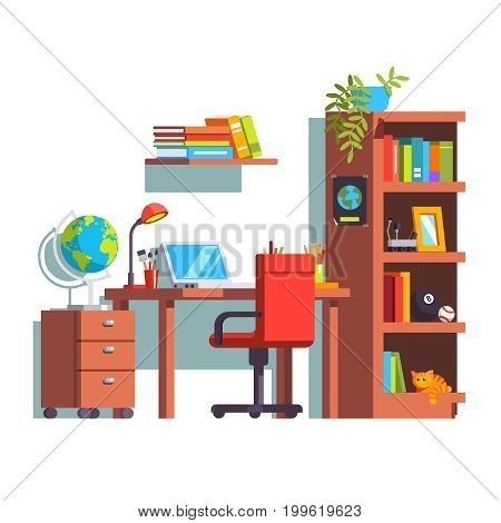 Home kid room interior with desk, chair, laptop computer and wooden book case. University studying student dormitory. Decoration, furniture. Flat style vector illustration isolated on white background