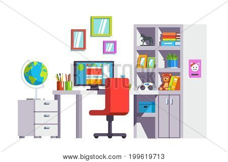 Modern home kid girl room interior design with desk, chair, pc and full book case or cupboard. Office decoration, furniture for studying. Flat style vector illustration isolated on white background.